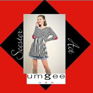 Umgee Black & Whie Striped Baby Doll Tunic